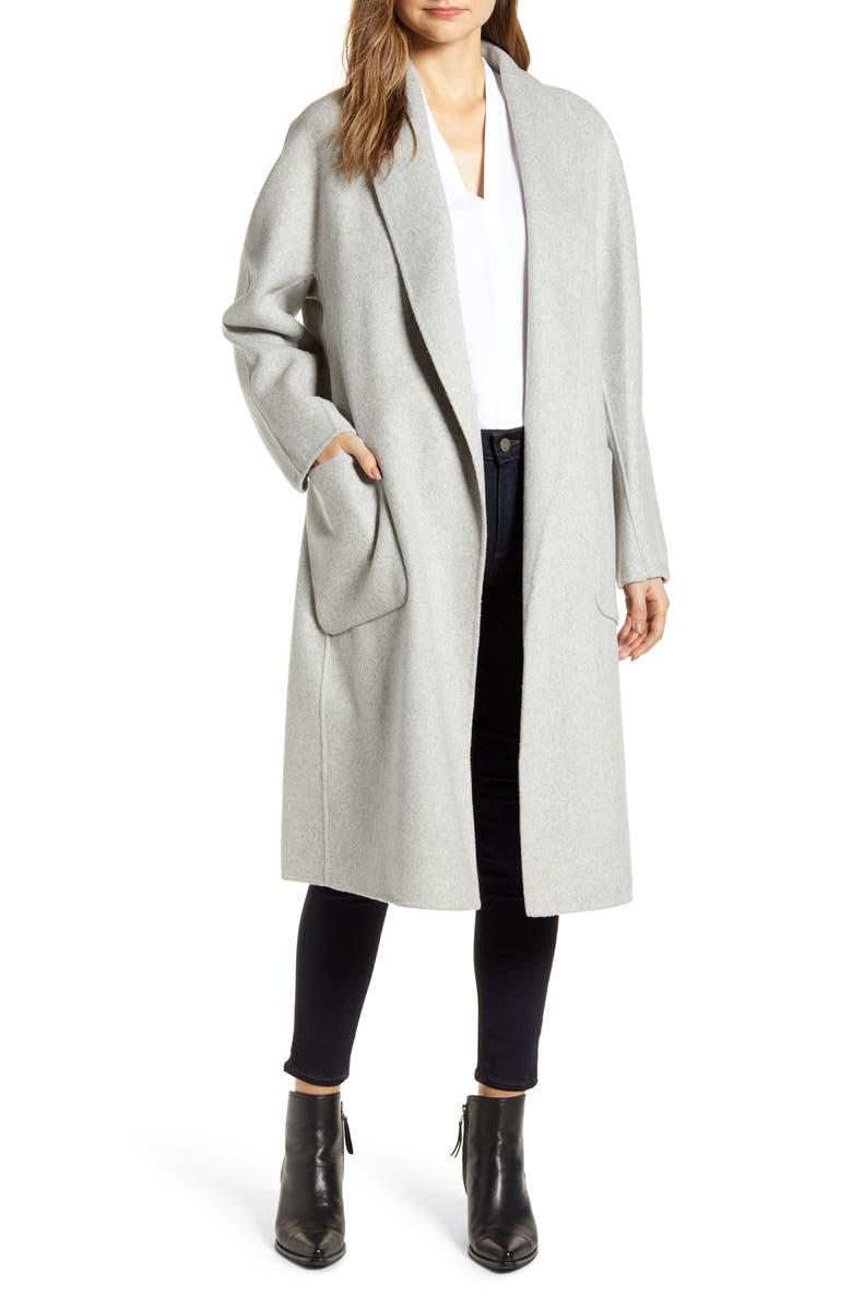 LAMARQUE Shawl Collar Wool Blend Coat, Main, color, 050