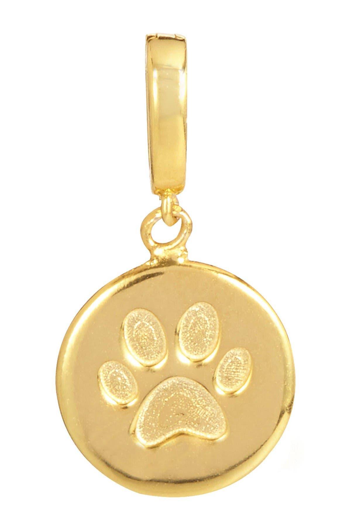 Image of Savvy Cie 18K Yellow Gold Vermeil Paw Print Round Charm
