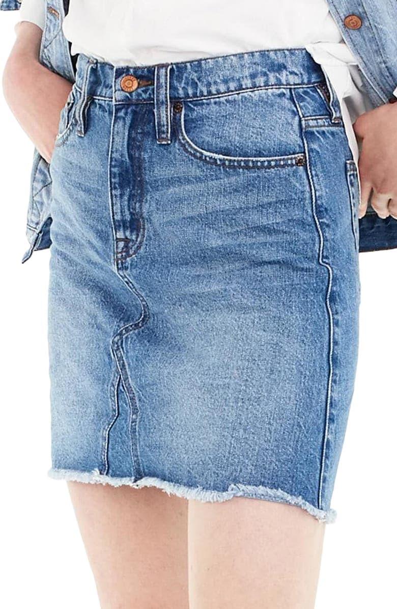 J.CREW Denim Skirt, Main, color, 400
