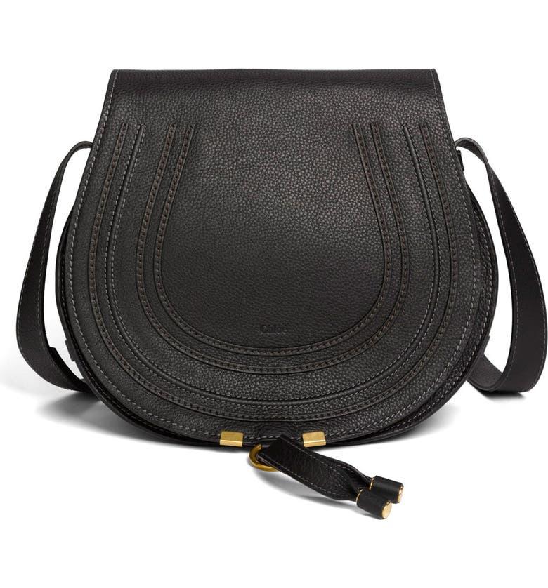 053ac8058d8 'Marcie - Medium' Leather Crossbody Bag, Main, color, BLACK GOLD HRDWRE '