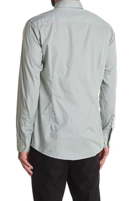 Image of Eton Stripe Print Slim Fit Dress Shirt