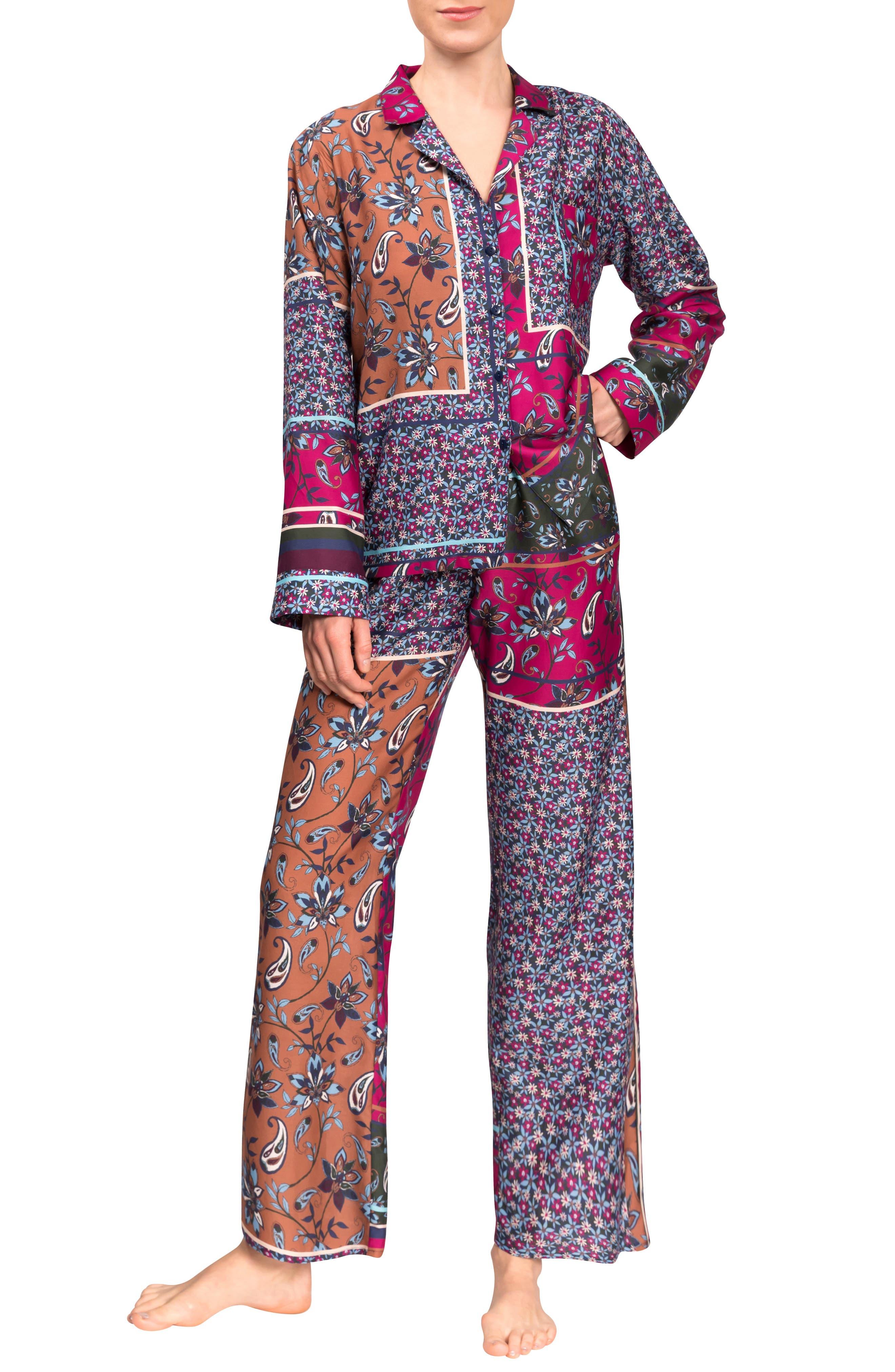 Allison Angela Floral Cotton & Silk Pajamas