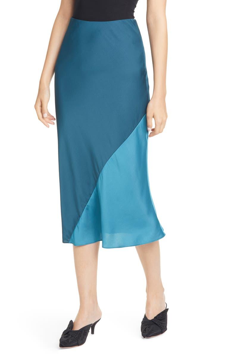 REBECCA TAYLOR Satin Midi Skirt, Main, color, 400