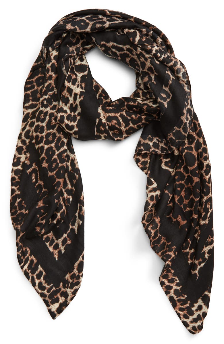 BP. Leopard Print Scarf, Alternate, color, BROWN MULTI