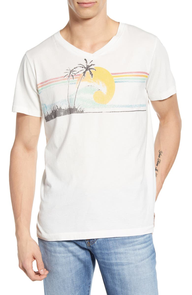 SOL ANGELES Sunbeams Regular Fit V-Neck T-Shirt, Main, color, WHITE