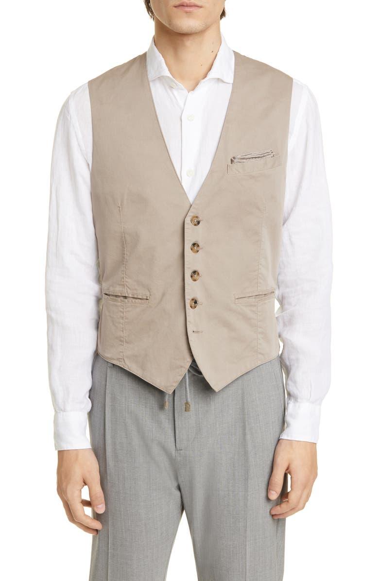 ELEVENTY Solid Vest, Main, color, TAN