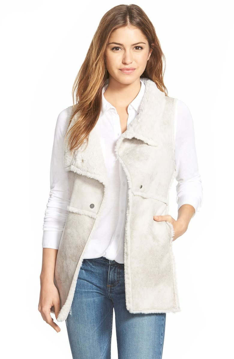 DYLAN Long Raw Edge Faux Shearling Vest, Main, color, 101