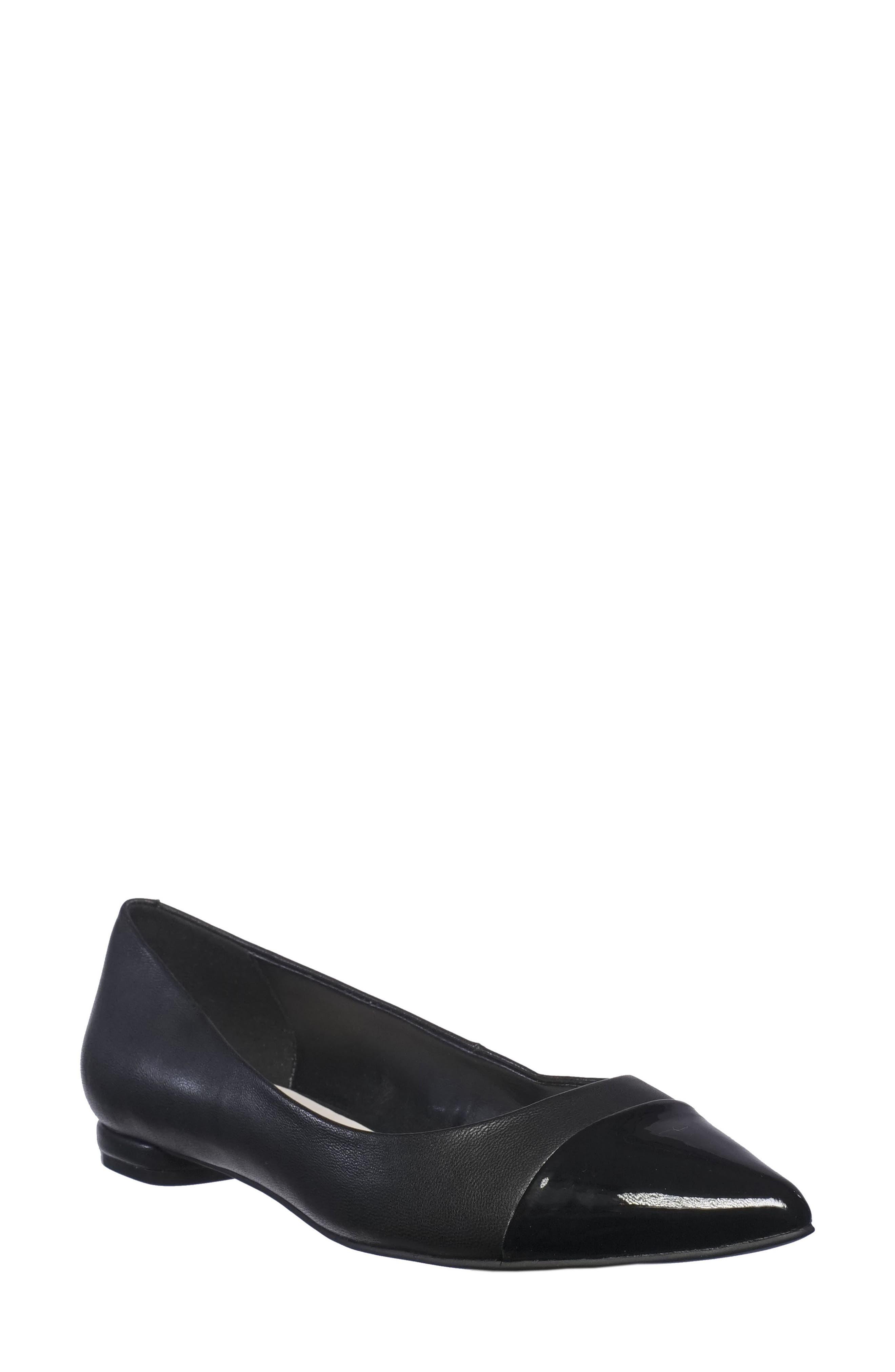 Tahari Okalani Cap Toe Skimmer Flat- Black