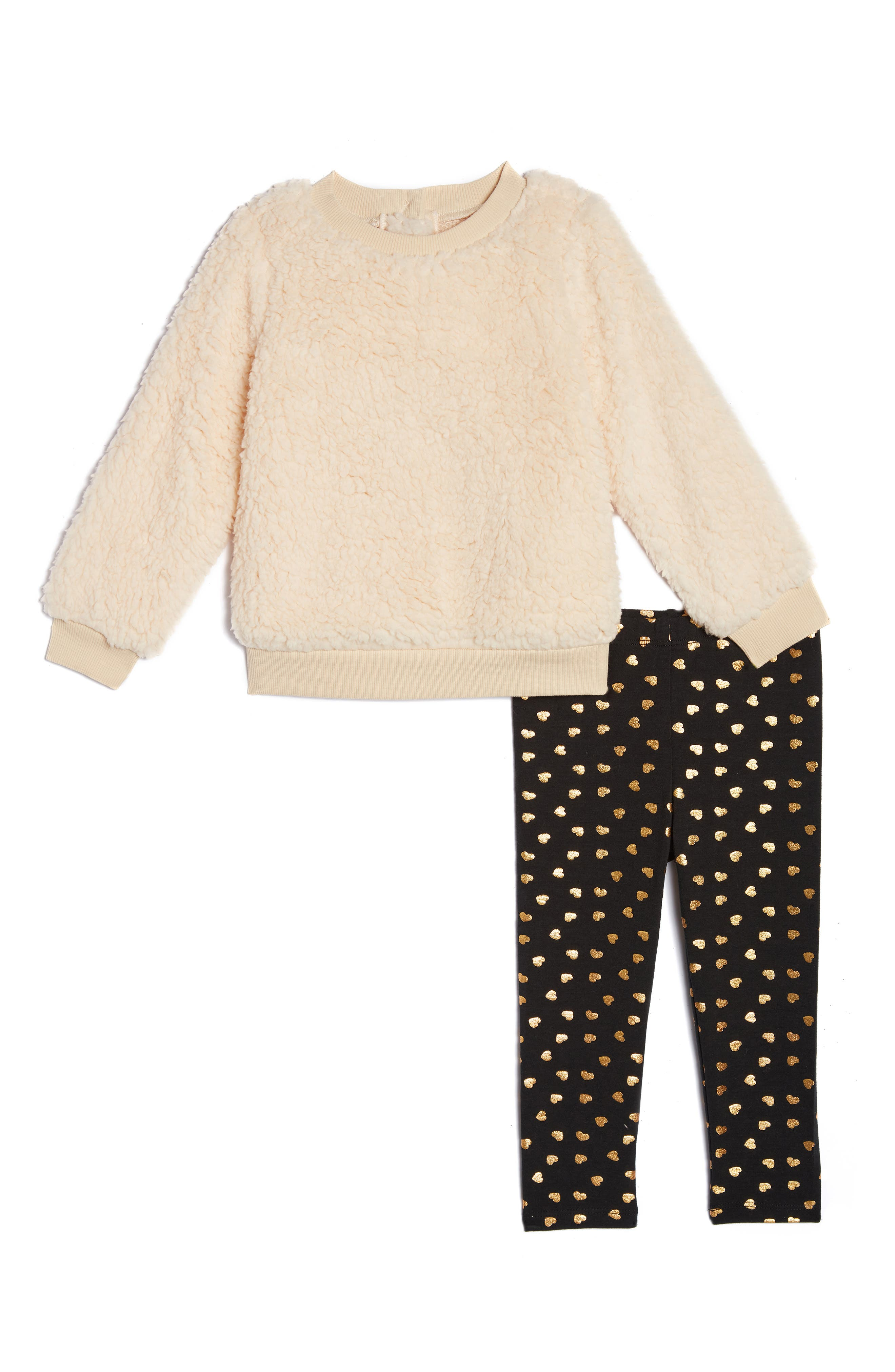 Image of Pippa & Julie Faux Shearling Foil Heart Sweater & Leggings 2-Piece Set