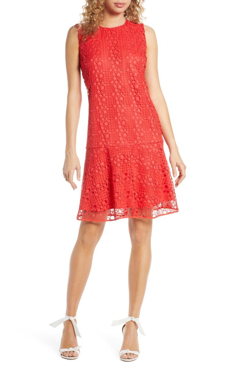 SAM EDELMAN Circle Lace Drop Waist Dress, Main, color, CORAL PUNCH