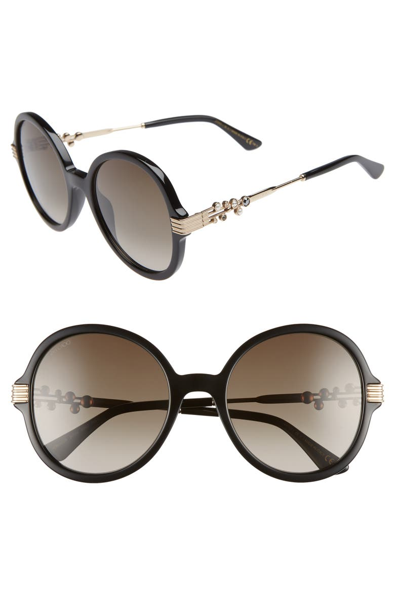 JIMMY CHOO Adria 55mm Round Sunglasses, Main, color, 001