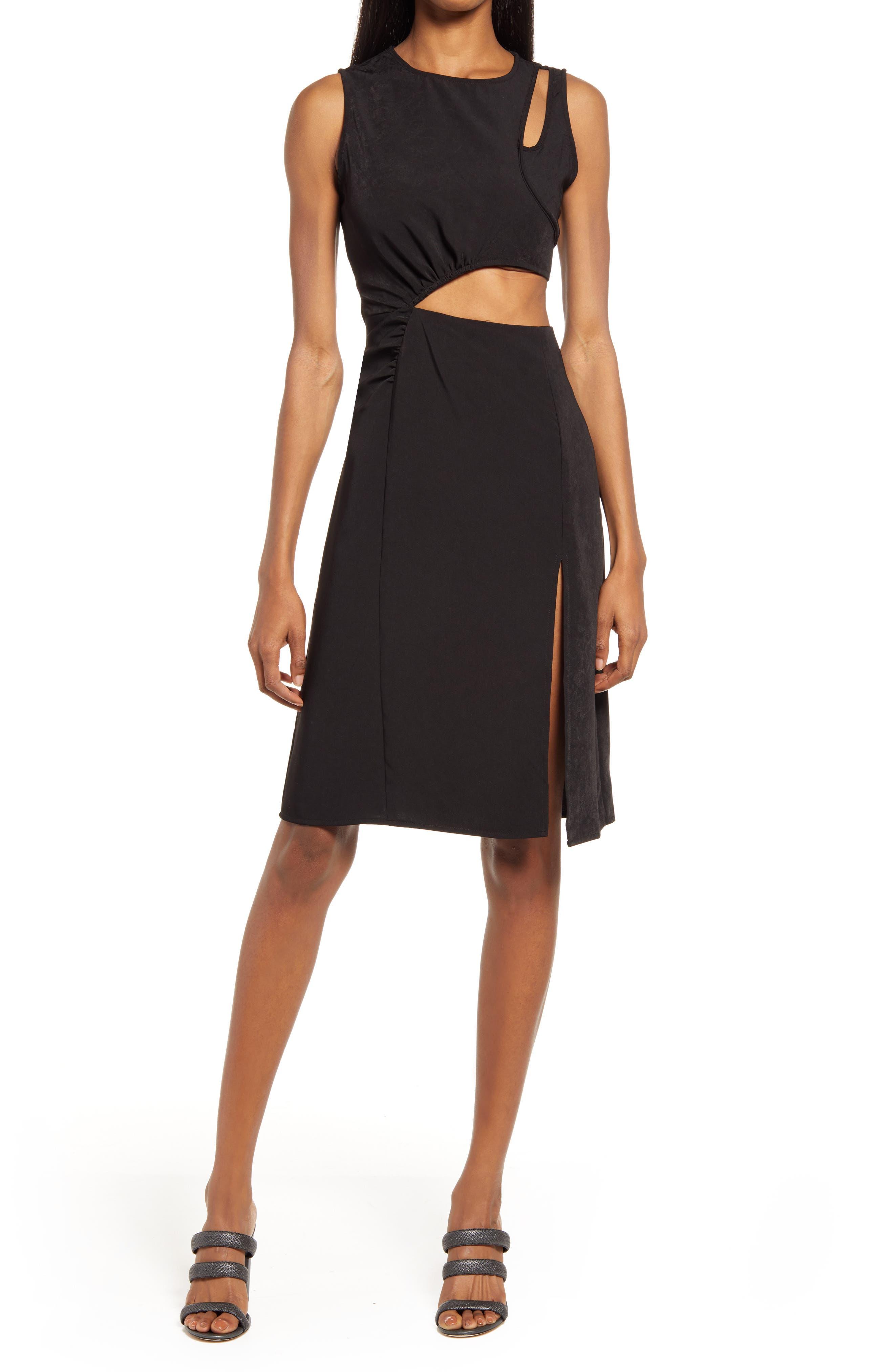 Cutout Side Slit A-Line Dress