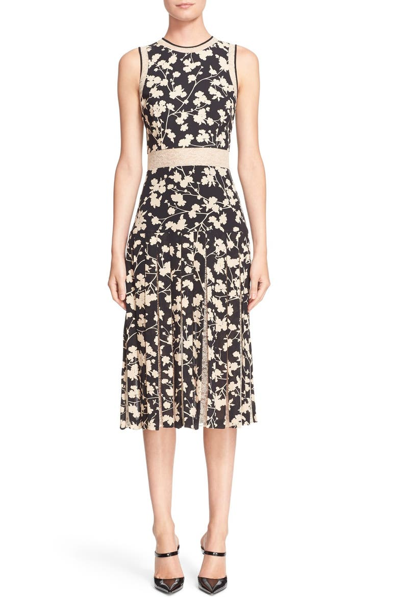 MICHAEL KORS Floral Print Carwash Pleat Dress, Main, color, 002