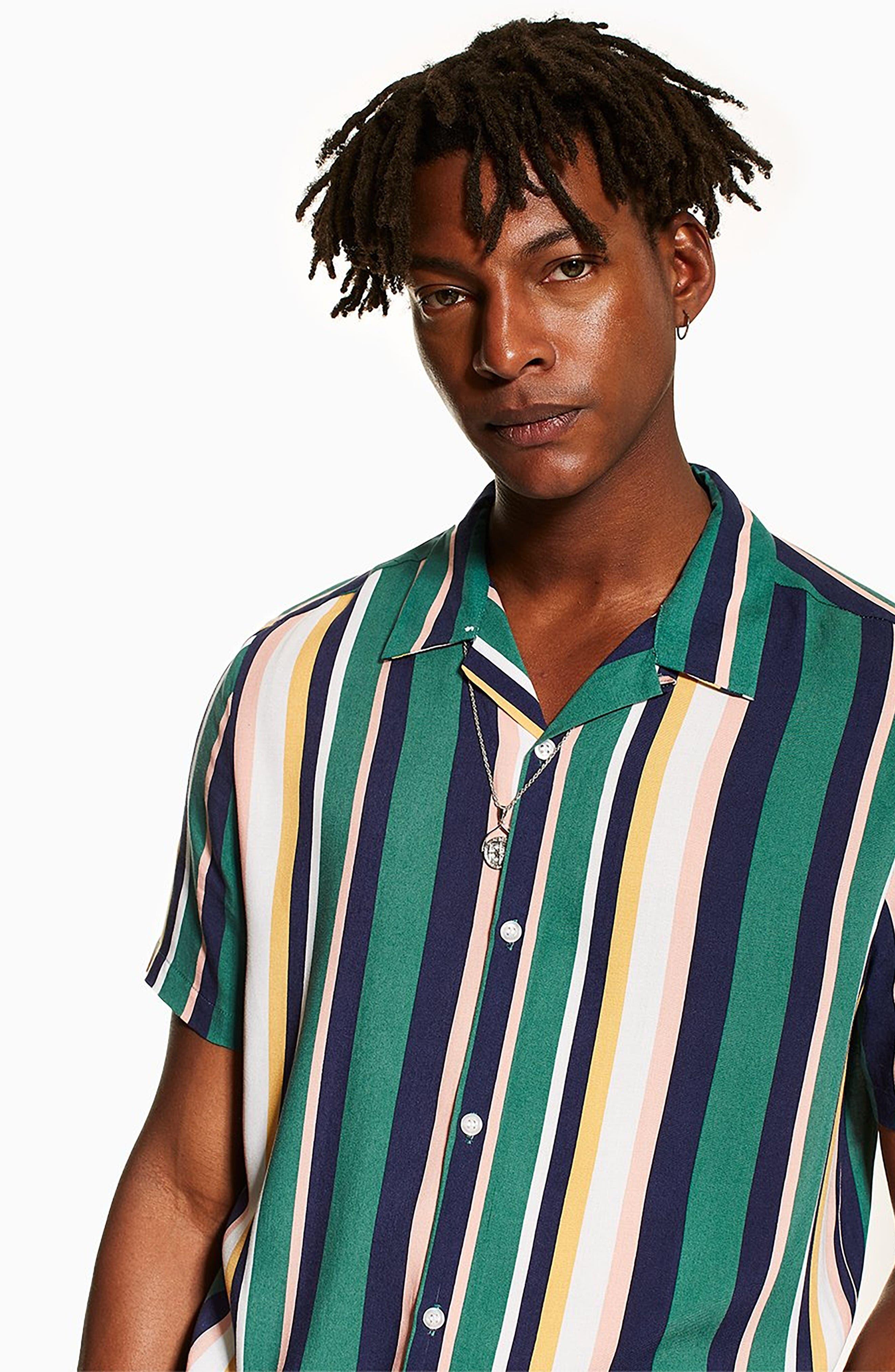 ,                             Stripe Camp Shirt,                             Alternate thumbnail 4, color,                             340