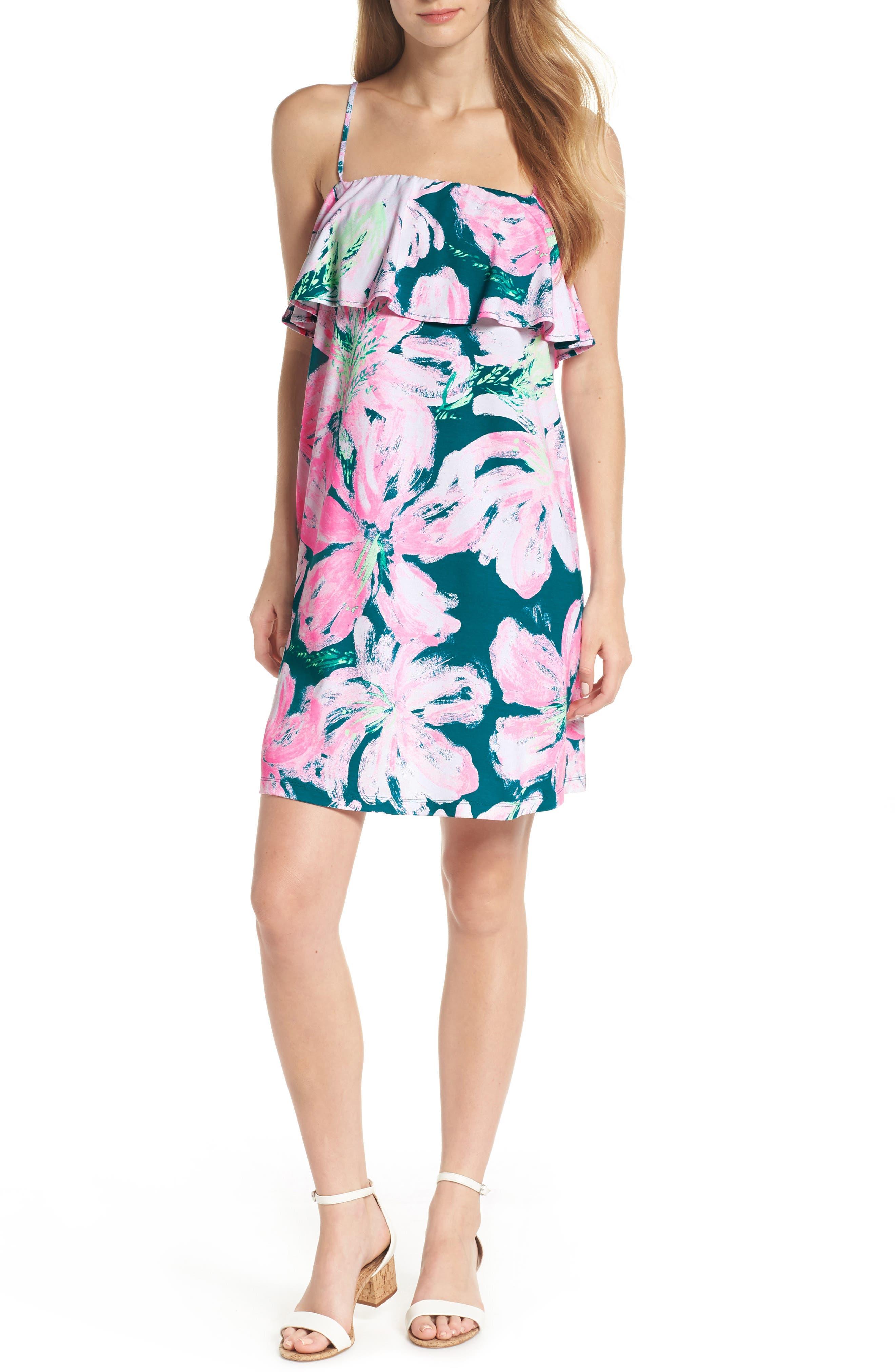 Lilly Pulitzer Annastasha Popover Shift Dress, Blue/green