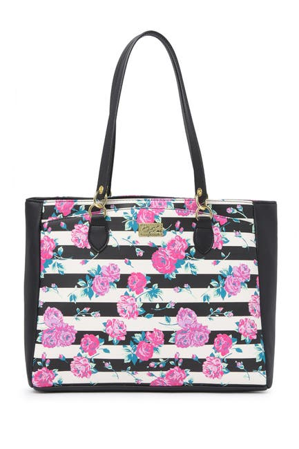 Image of Betsey Johnson Quilted Floral Stripe Tote