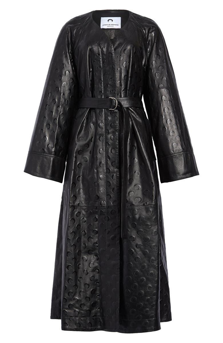 MARINE SERRE Moon Print Upcycled Leather Macintosh Coat, Main, color, 001