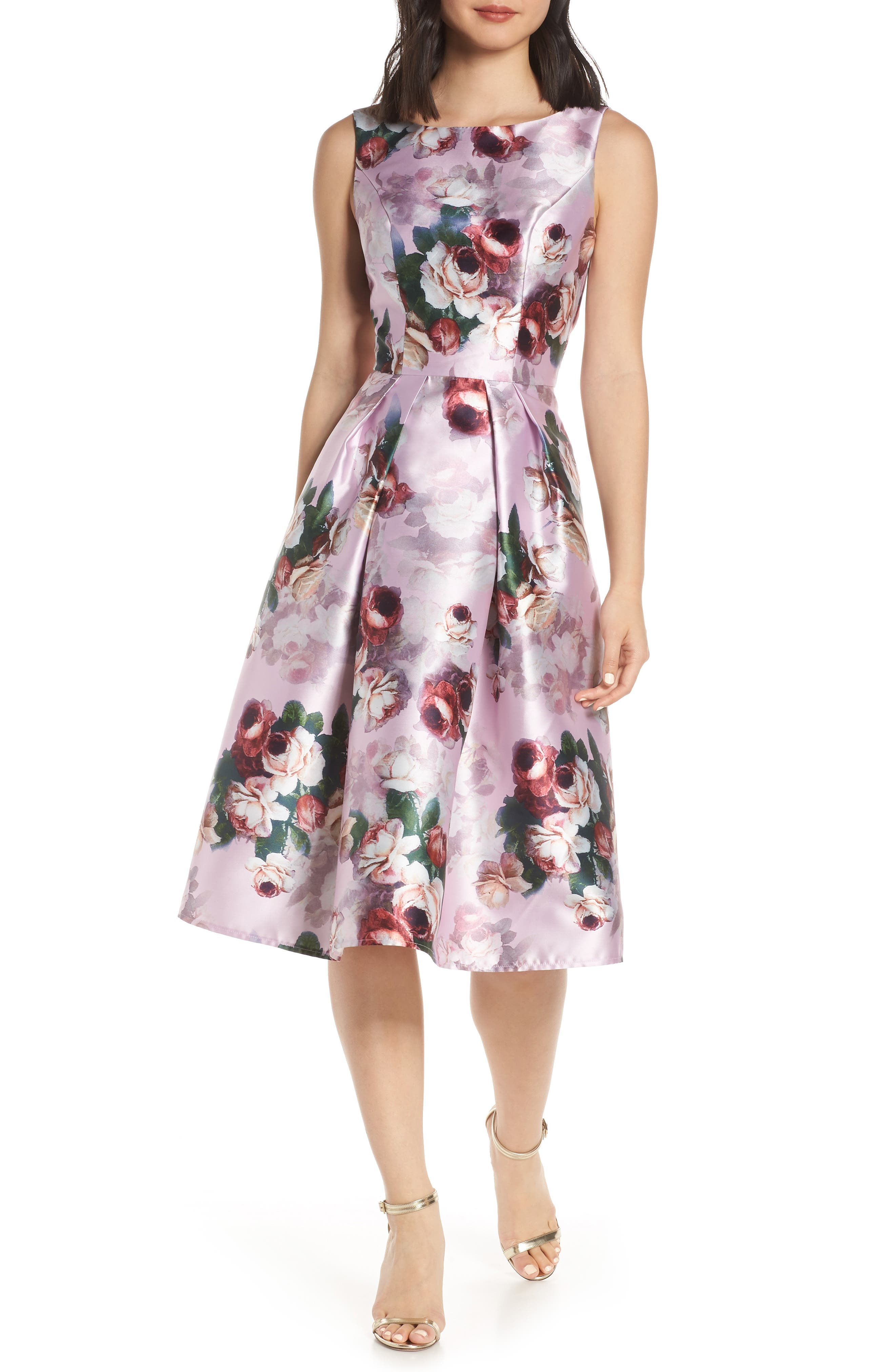 Chi Chi Marilyn Floral Print Satin Cocktail Dress, Pink