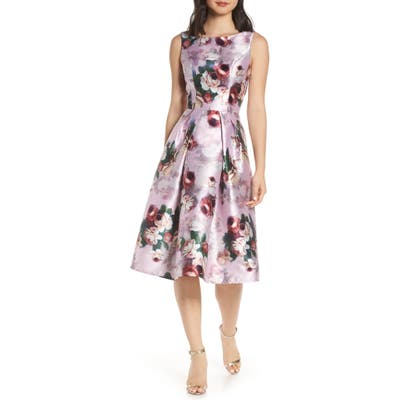 Chi Chi Marilyn Floral Print Satin Cocktail Dress, Pink