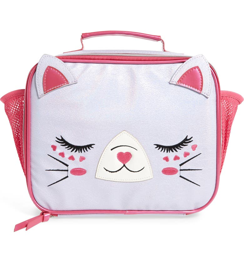 UNDER ONE SKY Cat Insulated Lunch Box, Main, color, LAVENDER IRIDESCENT