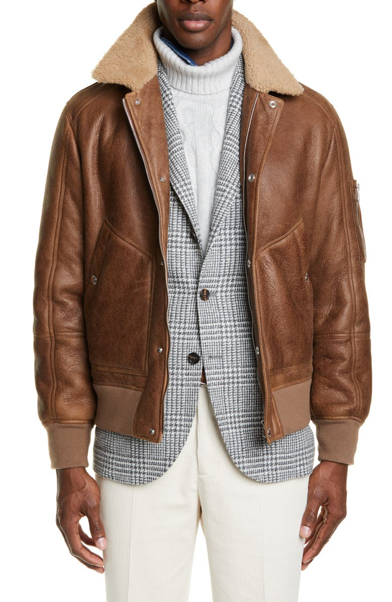BRUNELLO CUCINELLI Genuine Shearling & Leather Aviator Jacket, Main, color, MEDIUM BROWN