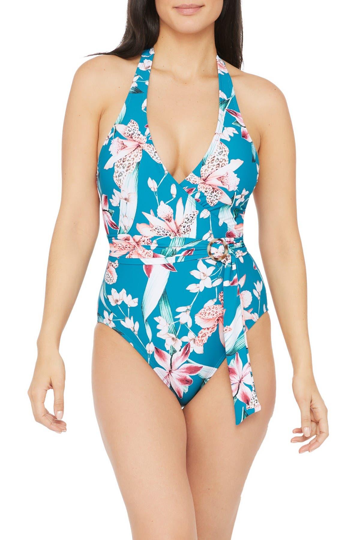 Image of La Blanca Swimwear Flyaway Surplice Belted One-Piece Swimsuit