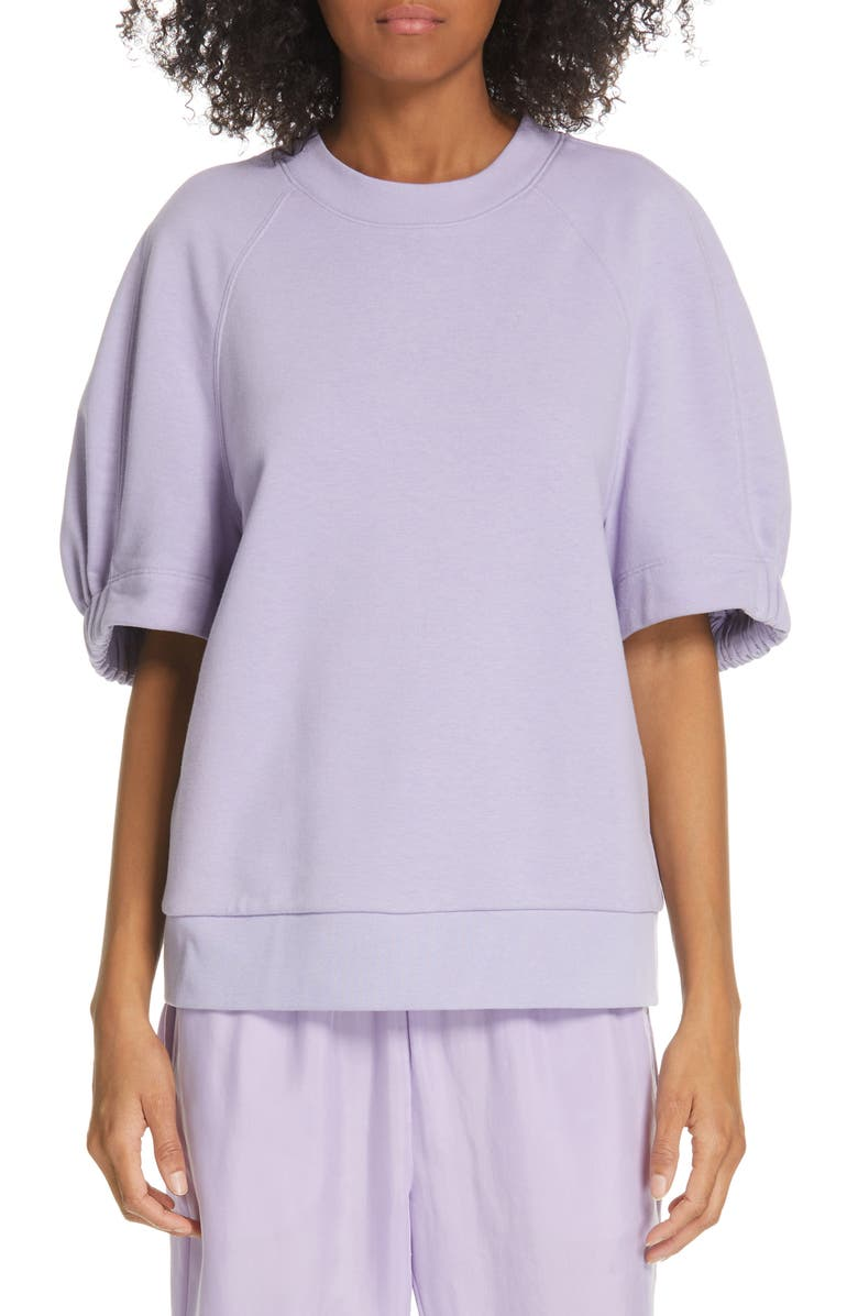 TIBI Short Sleeve Sweatshirt, Main, color, LAVENDER