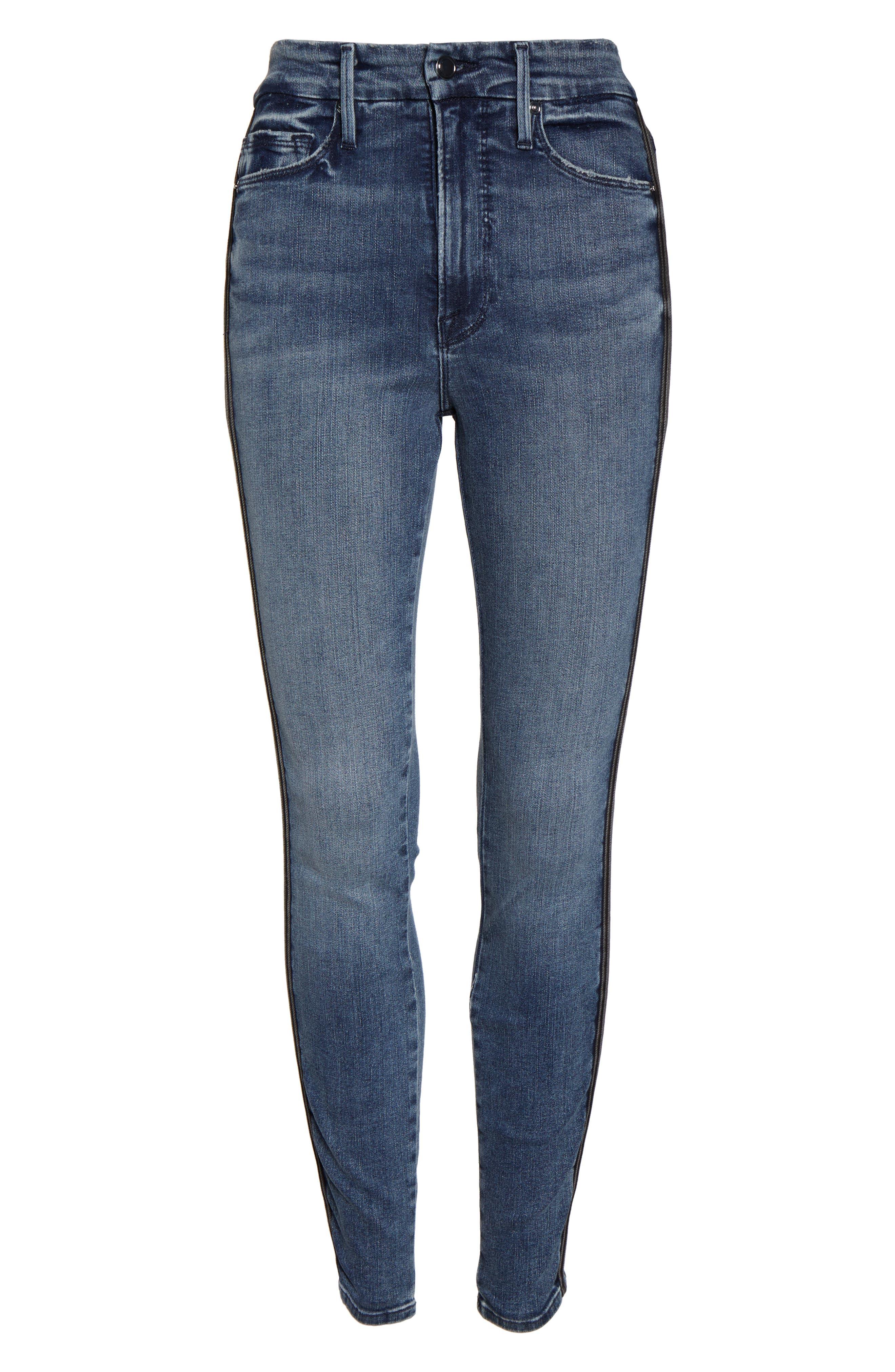 ,                             Good Waist Stripe Skinny Jeans,                             Alternate thumbnail 6, color,                             BLUE241