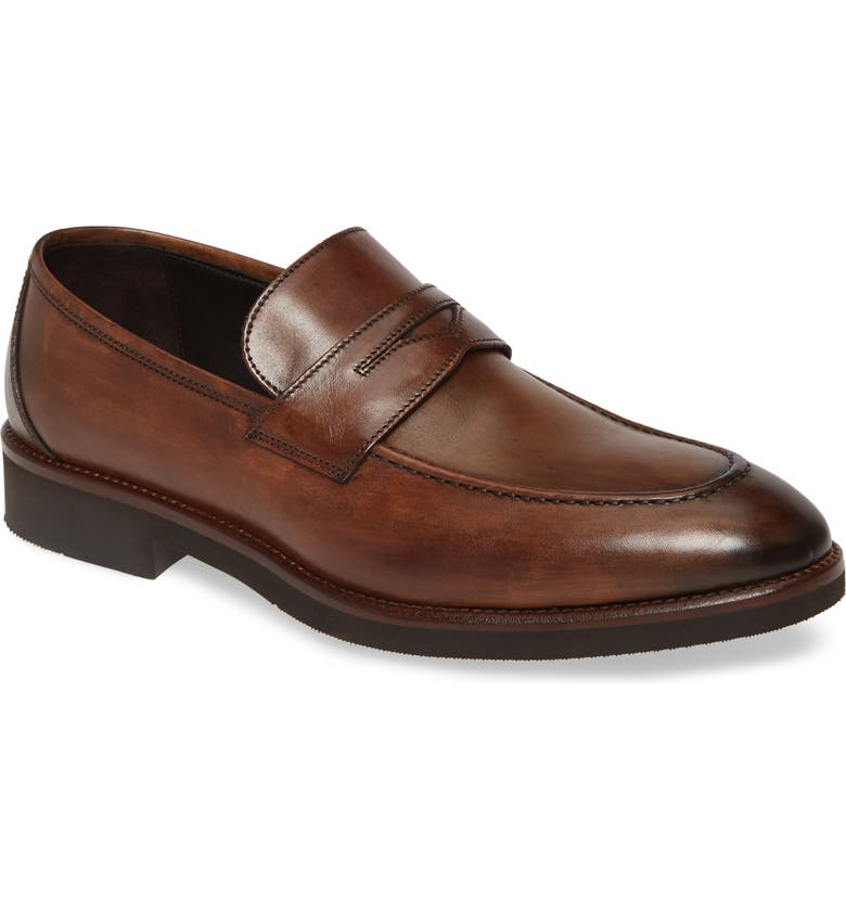 JOHNSTON & MURPHY Ridgeland Penny Loafer, Main, color, BROWN LEATHER