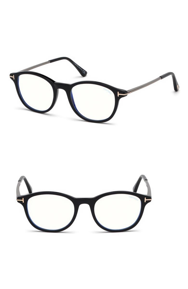 TOM FORD 50mm Blue Light Blocking Glasses, Main, color, SHINY BLACK/ BLUE BLOCK