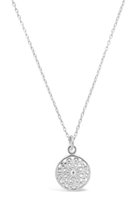 Image of Sterling Forever Sterling Silver Intricate Cutout Disk Pendant Necklace