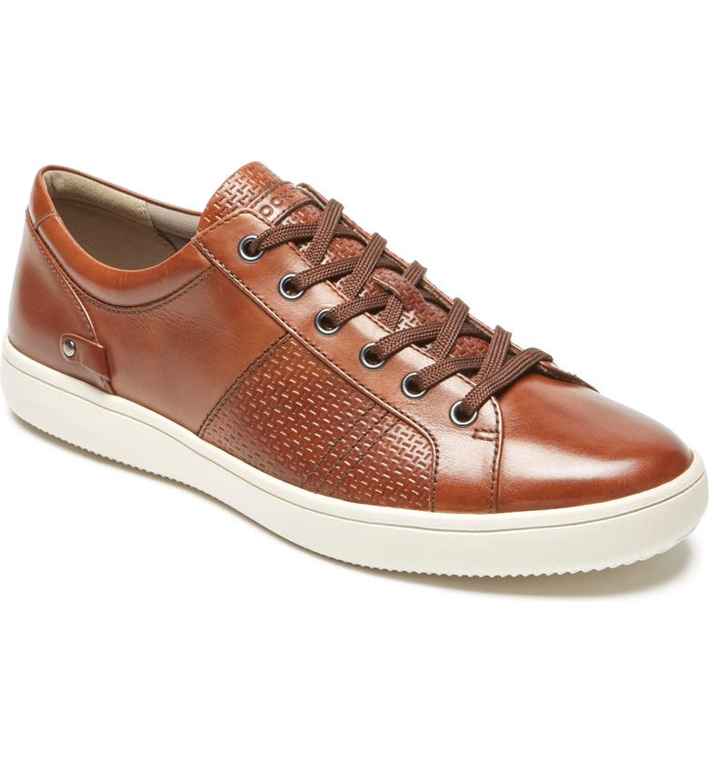 ROCKPORT College Textured Sneaker, Main, color, TAN SMOOTH LEATHER