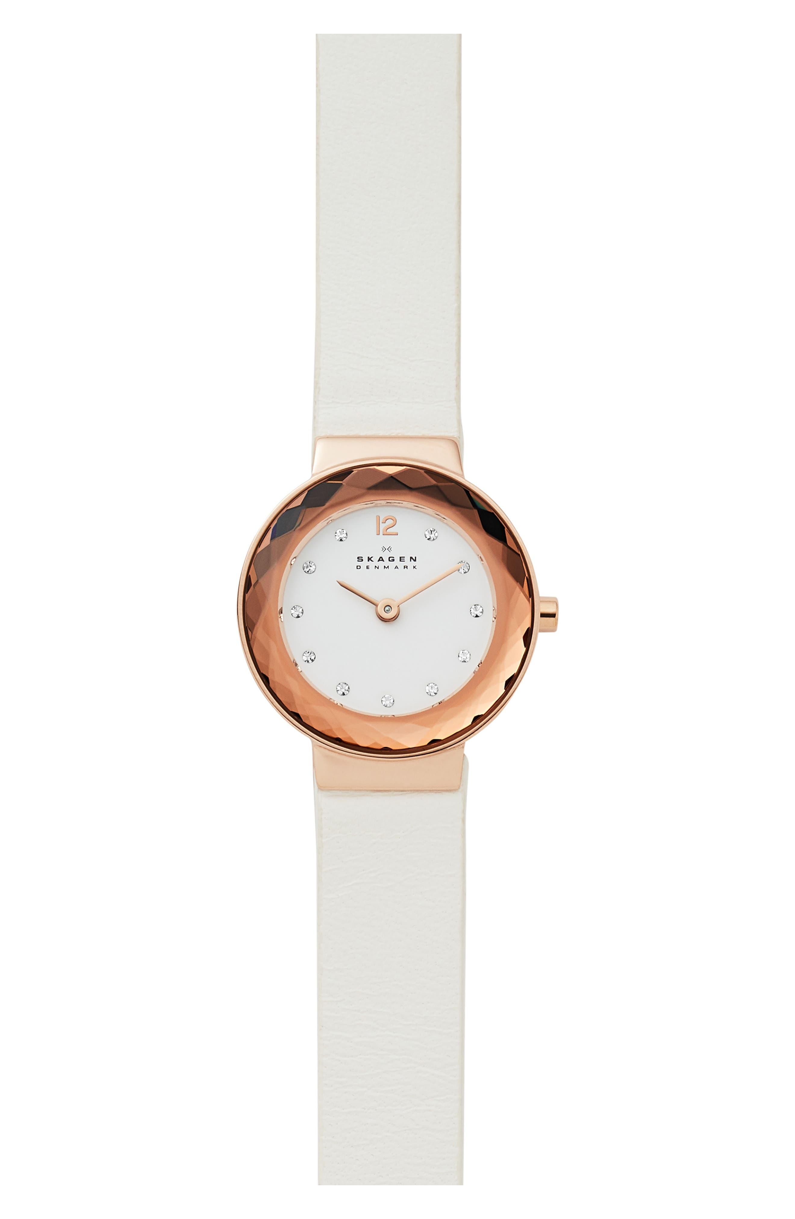 Women's Skagen Lenora Leather Strap Watch, 25Mm