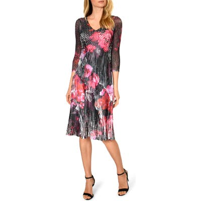 Komarov Charmeuse & Chiffon A-Line Dress, Black