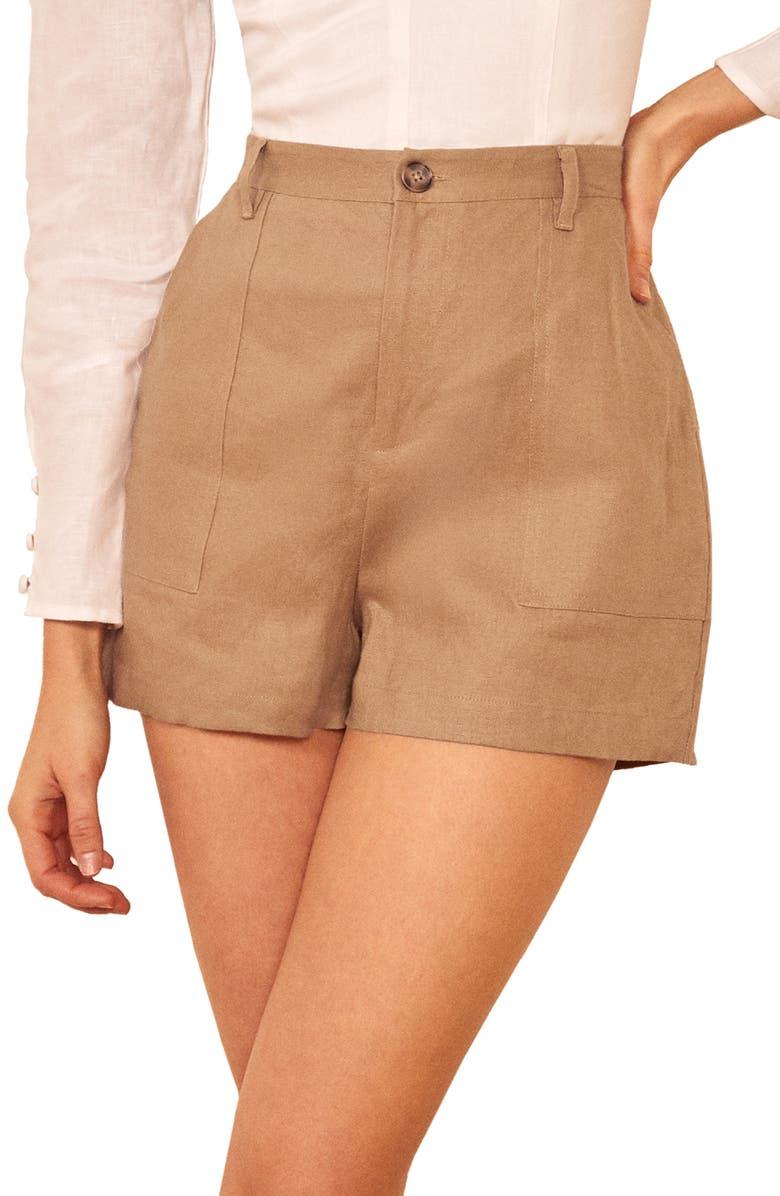 REFORMATION Sterling Linen Shorts, Main, color, KHAKI