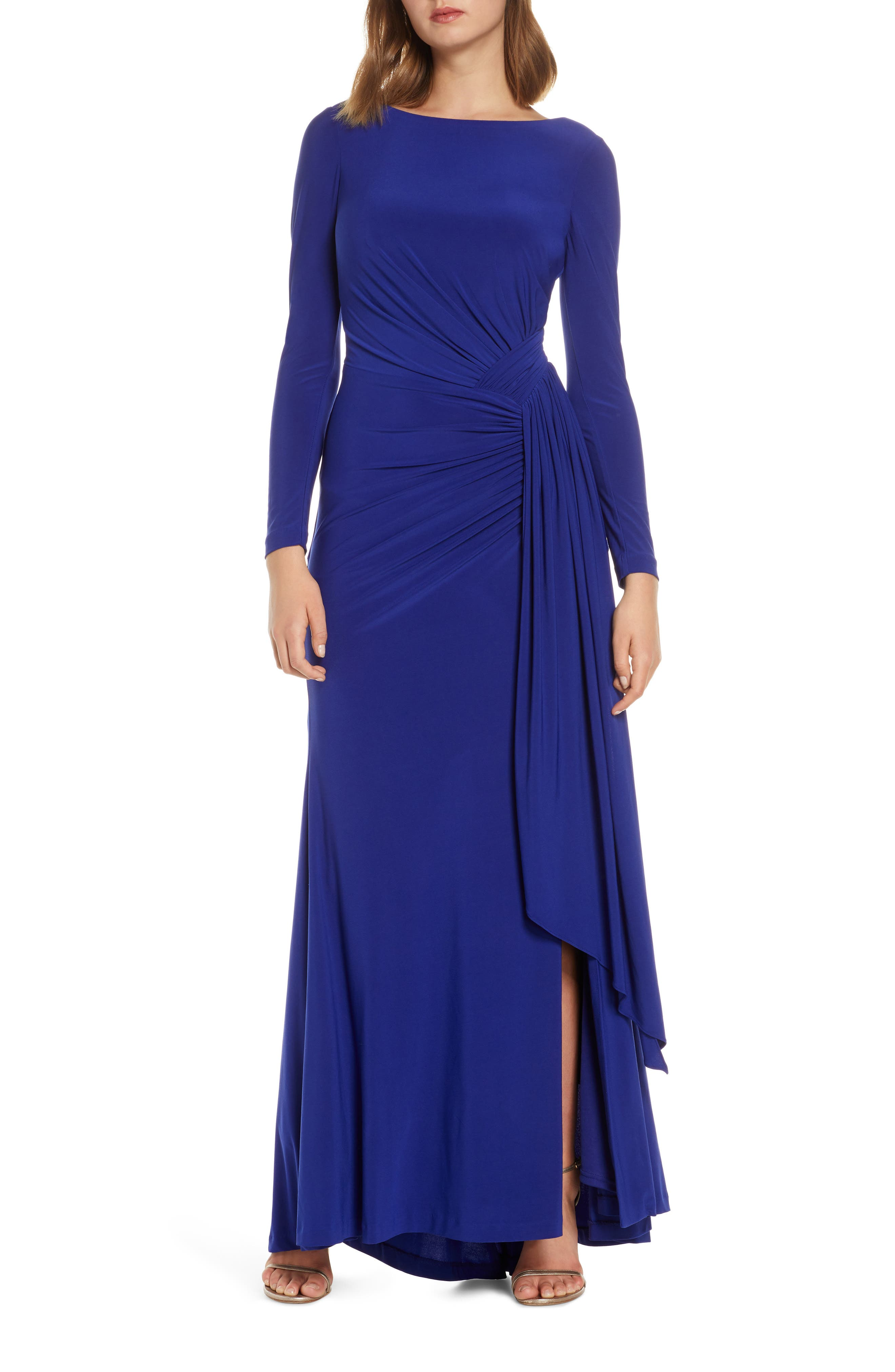 1940s Evening, Prom, Party, Formal, Ball Gowns Womens Vince Camuto Long Sleeve Ruched Gown Size 12 - Blue $83.98 AT vintagedancer.com