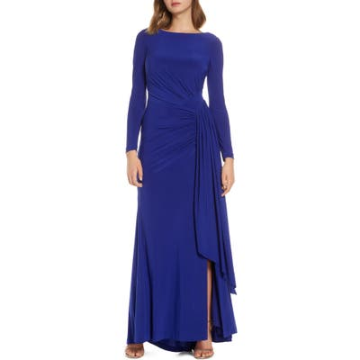 Vince Camuto Long Sleeve Ruched Gown, Blue