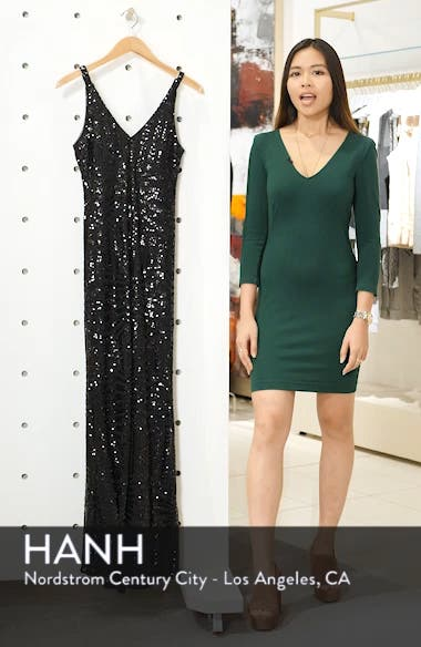 V-Neck Sequin Column Gown, sales video thumbnail