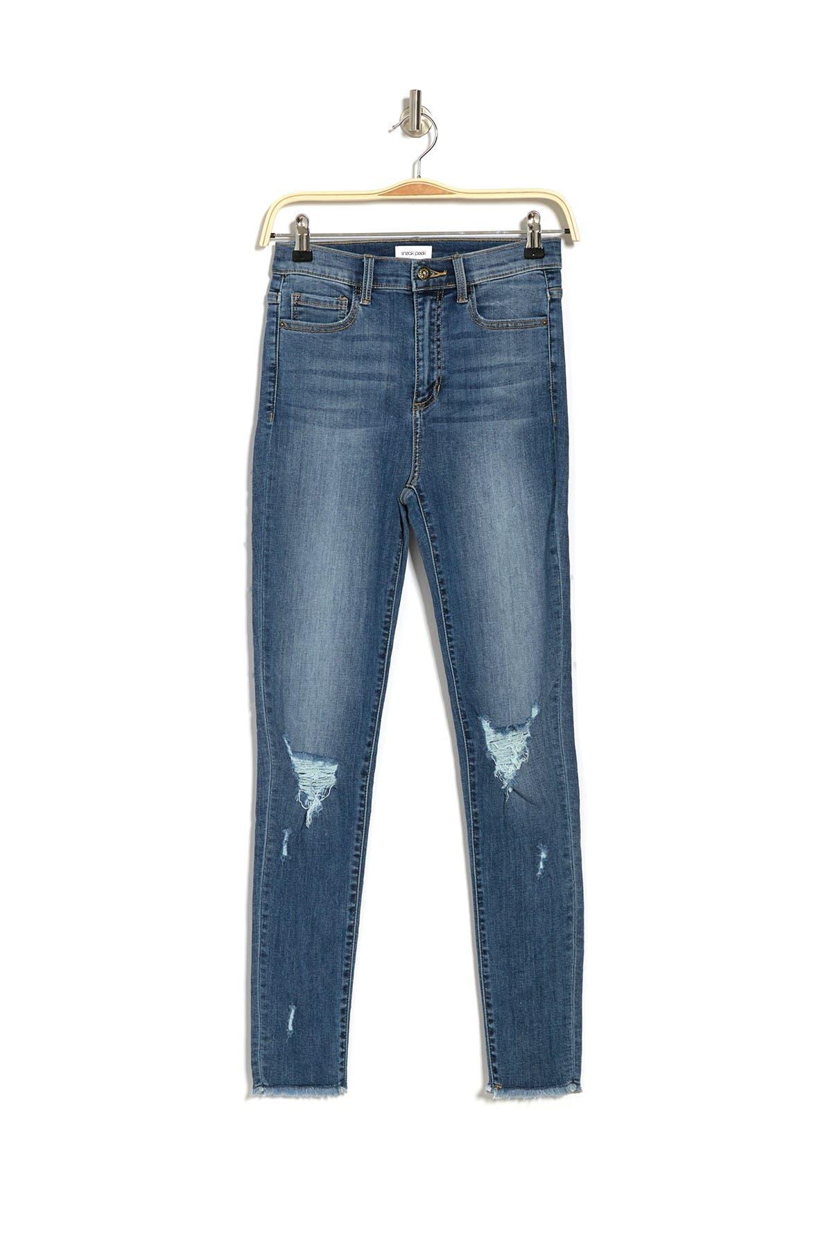 Image of Sneak Peek Denim Distressed High Rise Skinny Jeans