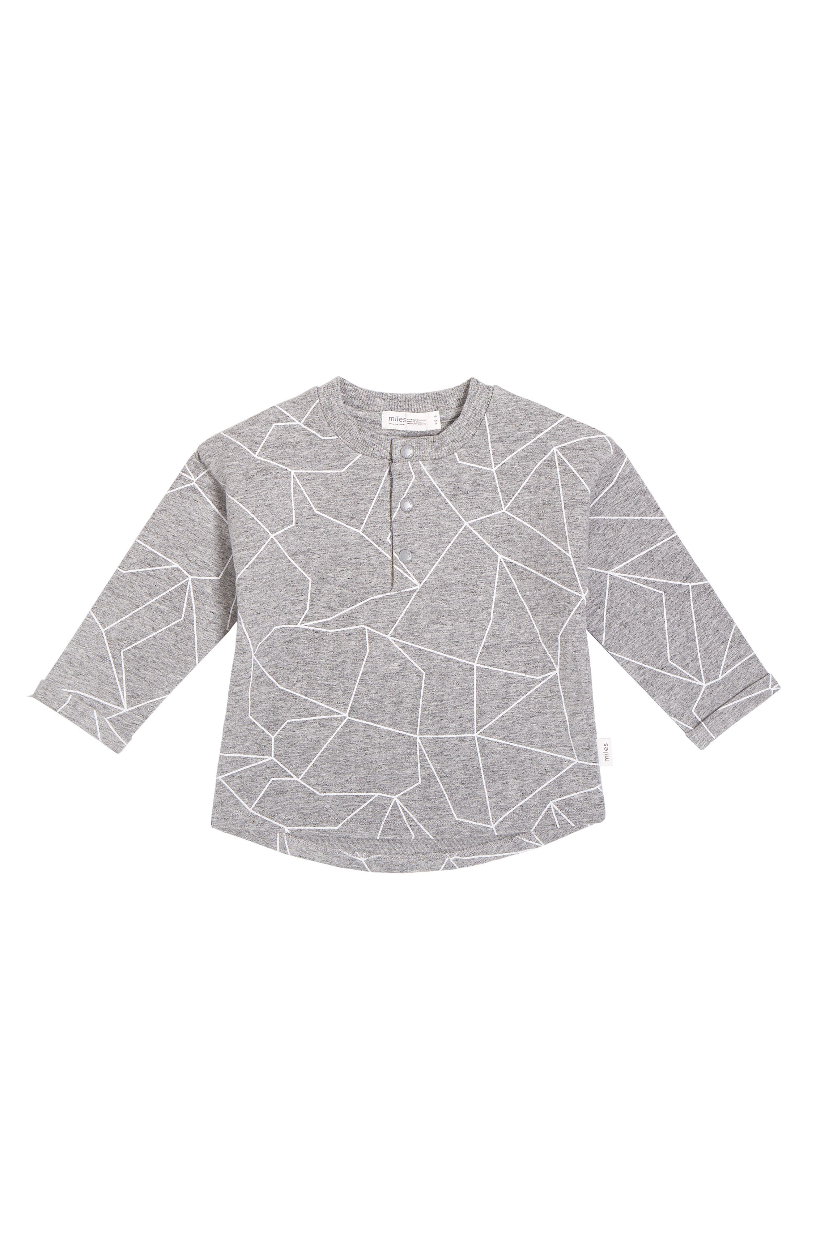 A geometric pattern details a long-sleeve henley-style shirt made from soft stretch cotton to keep baby cozy. Style Name: Miles Geometric Graphic Shirt (Baby). Style Number: 6114873. Available in stores.