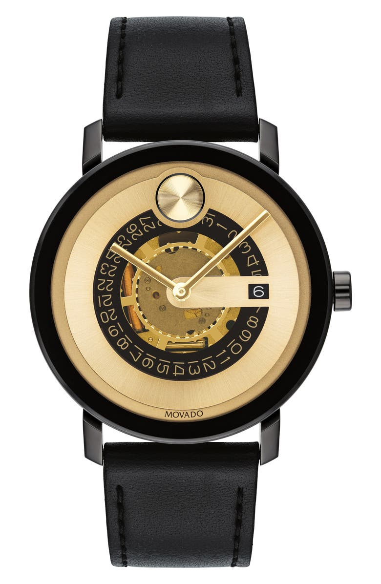 MOVADO Bold Evolution Leather Strap Watch, 40mm, Main, color, BLACK/ GOLD/ BLACK