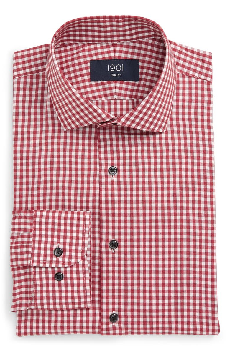 1901 Trim Fit Check Dress Shirt, Main, color, BURGUNDY BERRY