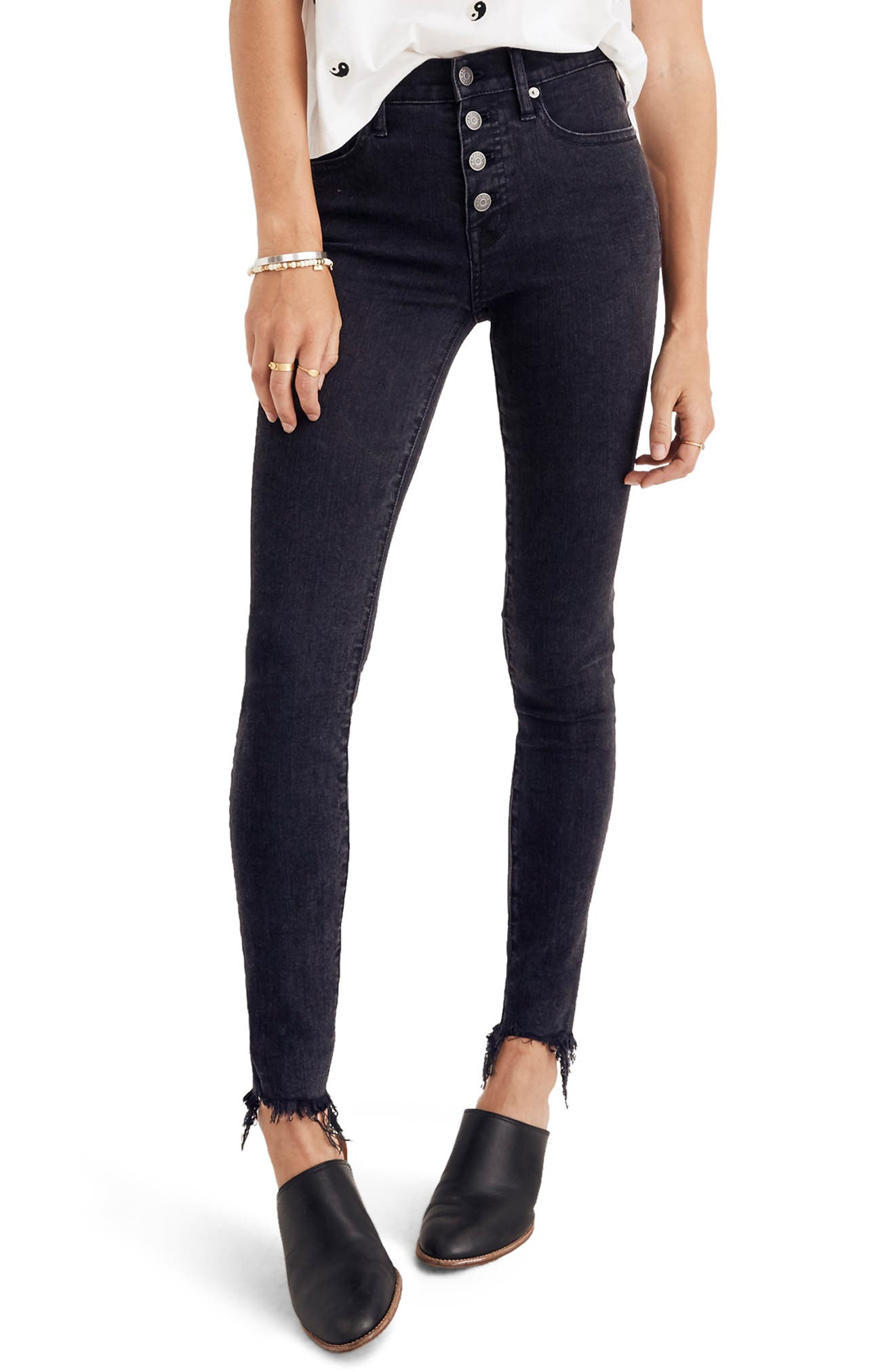 Madewell 9-Inch Button High Waist Ankle Skinny Jeans (Berkeley Wash) (Regular & Plus Size)