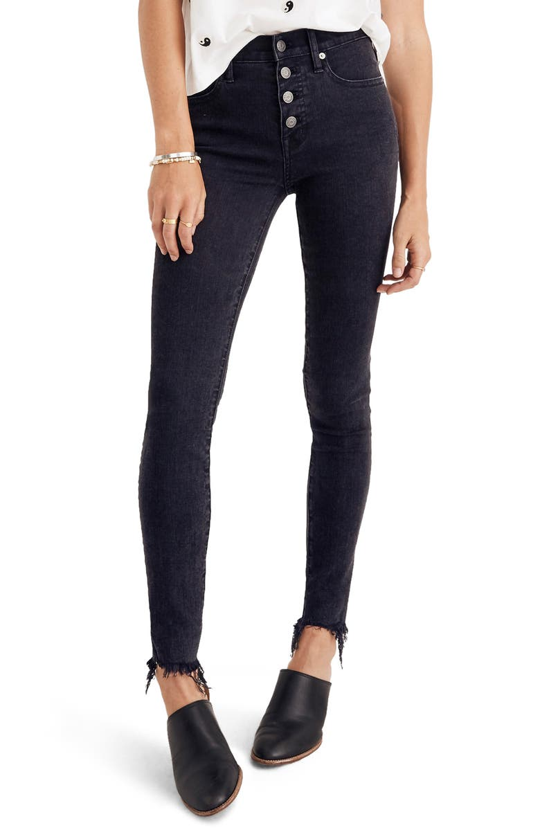 ac36ae1090 9-Inch Button High Waist Ankle Skinny Jeans