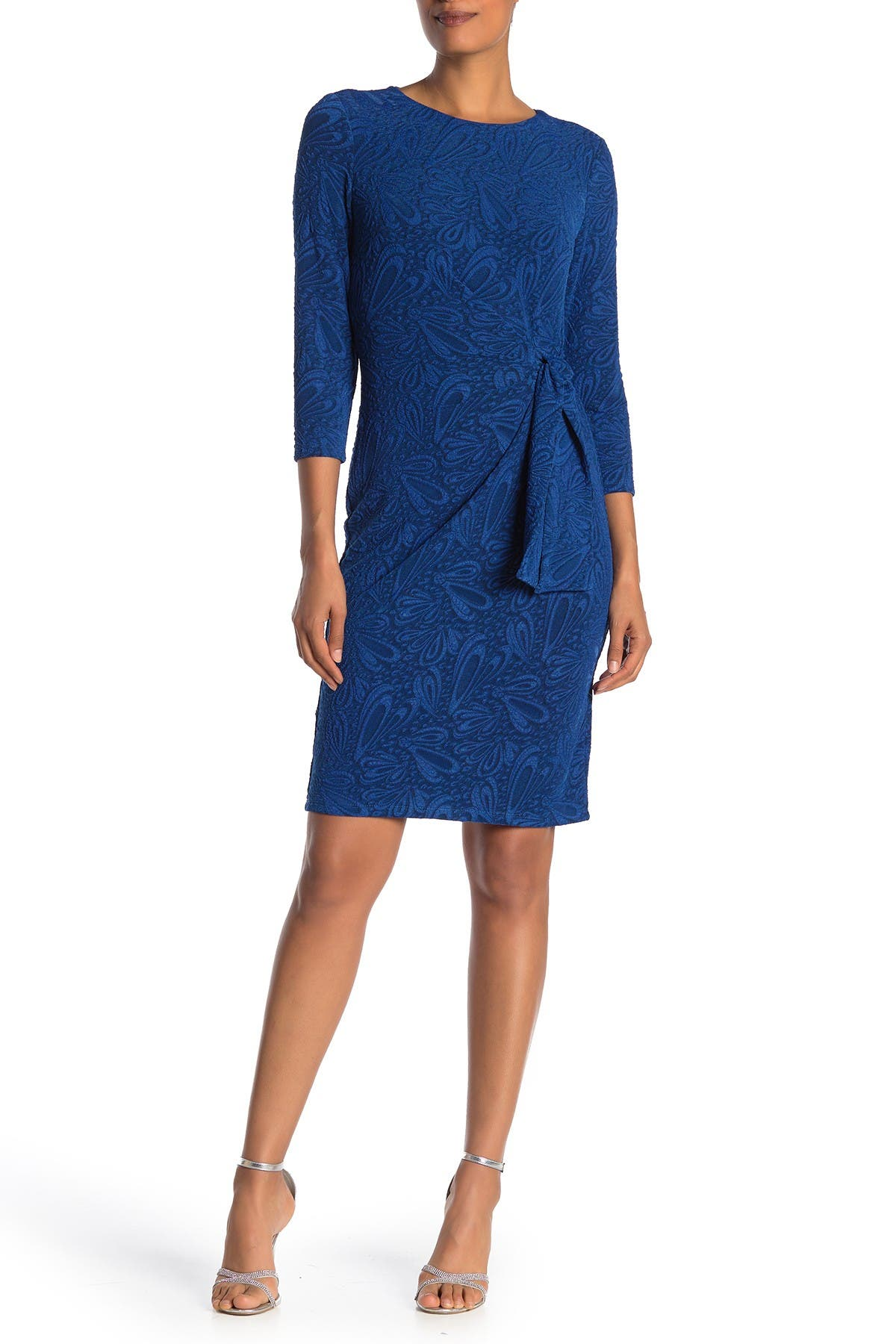 Image of London Times Jacquard Waist Tie Sheath Dress