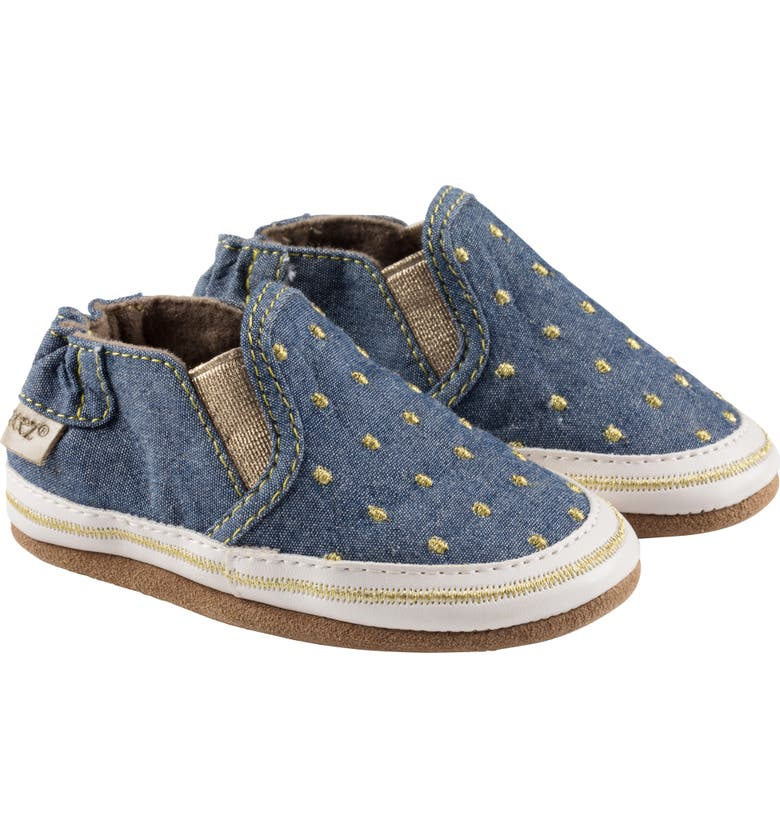 ROBEEZ<SUP>®</SUP> Isabella Dot Slip-On Crib Sneaker, Main, color, DENIM/ GOLD