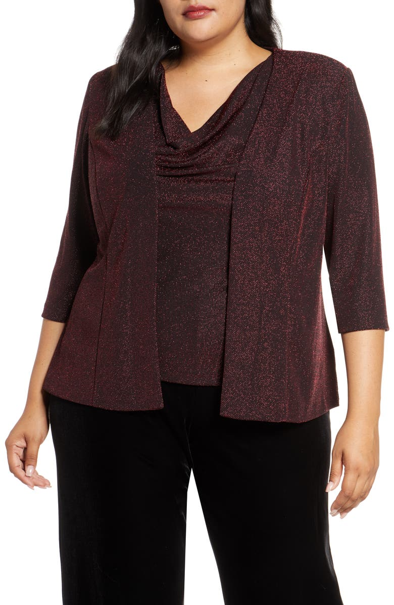 ALEX EVENINGS Shimmer Knit Twinset, Main, color, BLACK/ RED