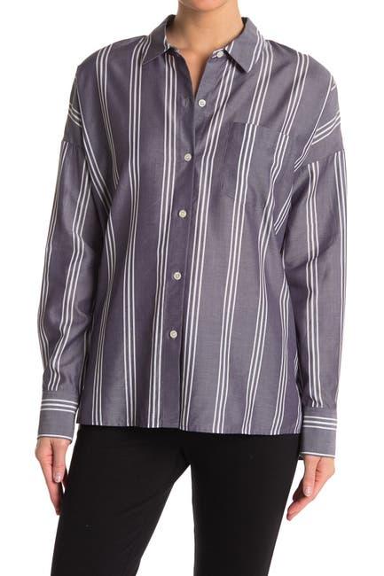 Image of Theory Lourah Striped Tunic Shirt