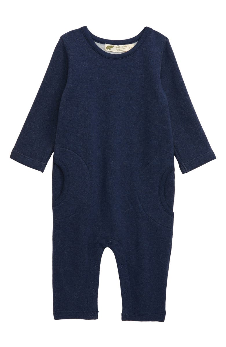 MONICA + ANDY Monica & Andy Stretch Organic Cotton Romper, Main, color, NAVY HEATHER