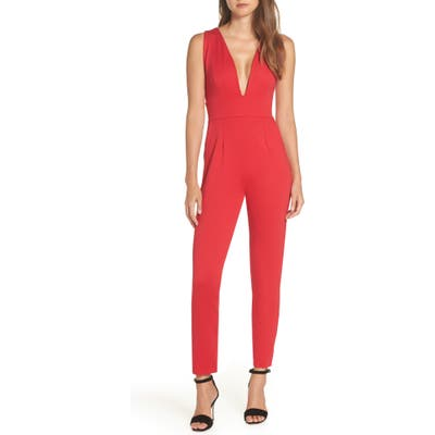 Fraiche By J Plunge Neck Jumpsuit, Red